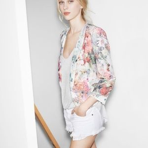 Zara Trafaluc Floral Watercolor Blazer